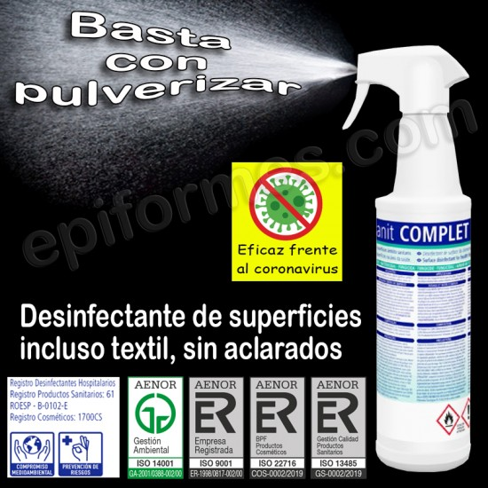 Desinfectante de superficies y textiles, sin aclarado