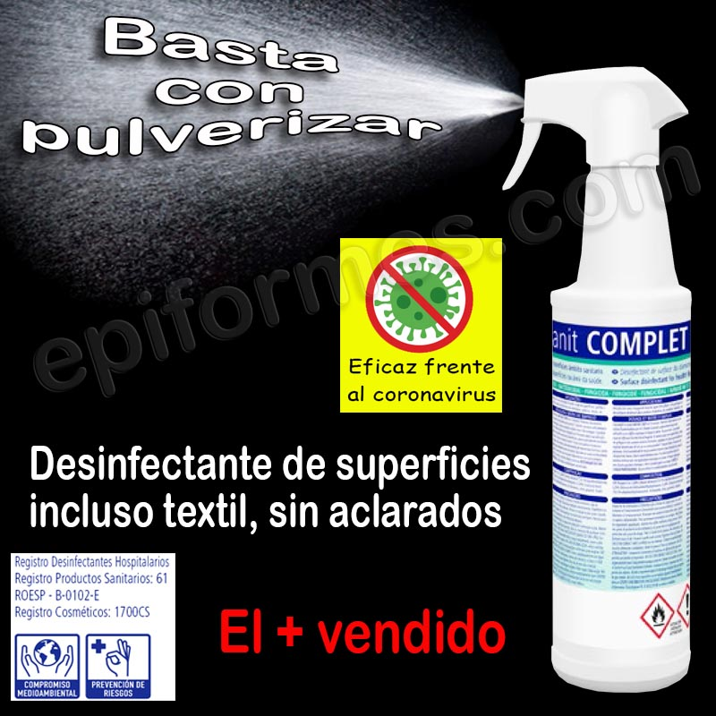 Desinfectante de superficies y textiles, sin aclar...