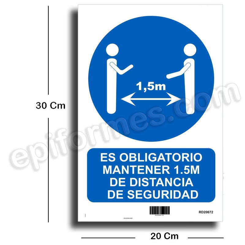 Cartel mantener distancia de seguridad