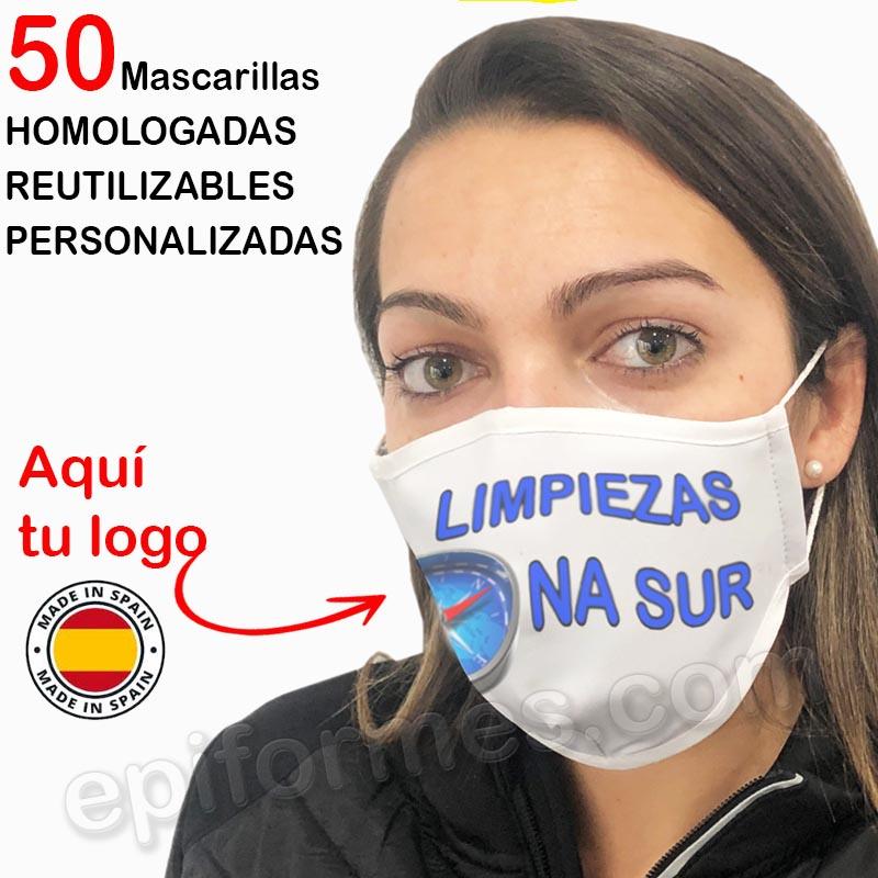 50 Mascarilla reutilizable PERSONALIZADAS