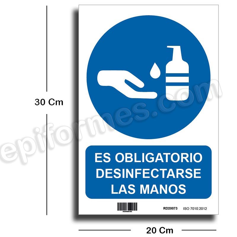 Cartel uso obligatorio desinfección de manos
