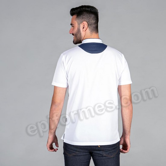 Polo cuello mao en tejano blanco