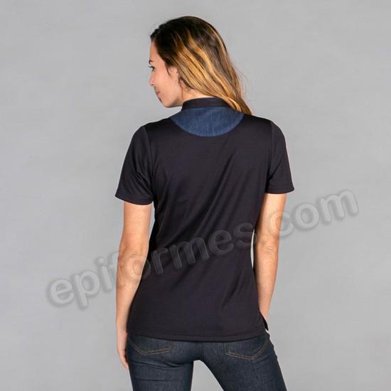 Polo cuello mao en tejano negro