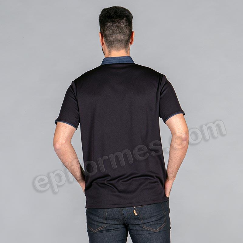 Polo cuello pico en tejano negro