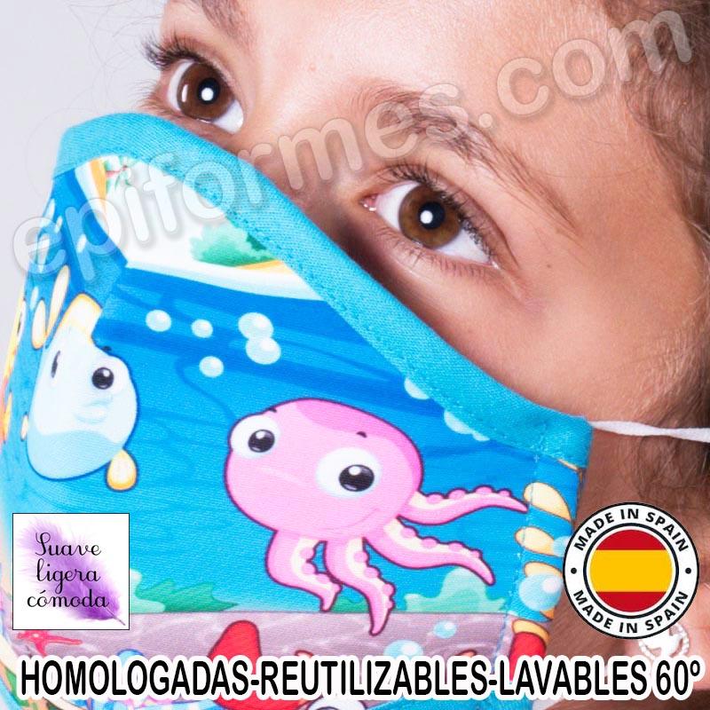Mascarilla infantil HOMOLOGADA REUTILIZABLE acuari...
