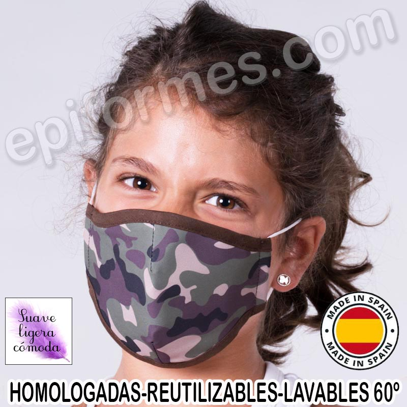Mascarilla infantil HOMOLOGADA REUTILIZABLE camufl...