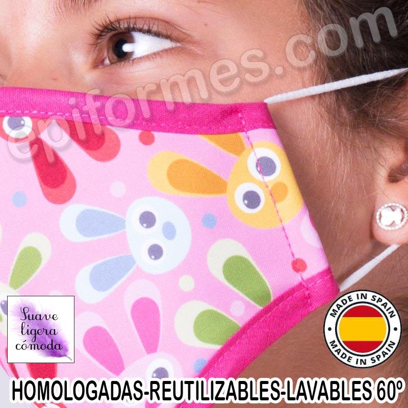 Mascarilla infantil HOMOLOGADA REUTILIZABLE conejos