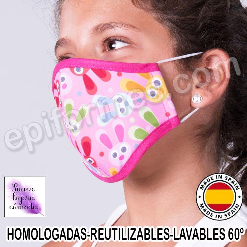 Mascarilla infantil HOMOLOGADA REUTILIZABLE conejo...