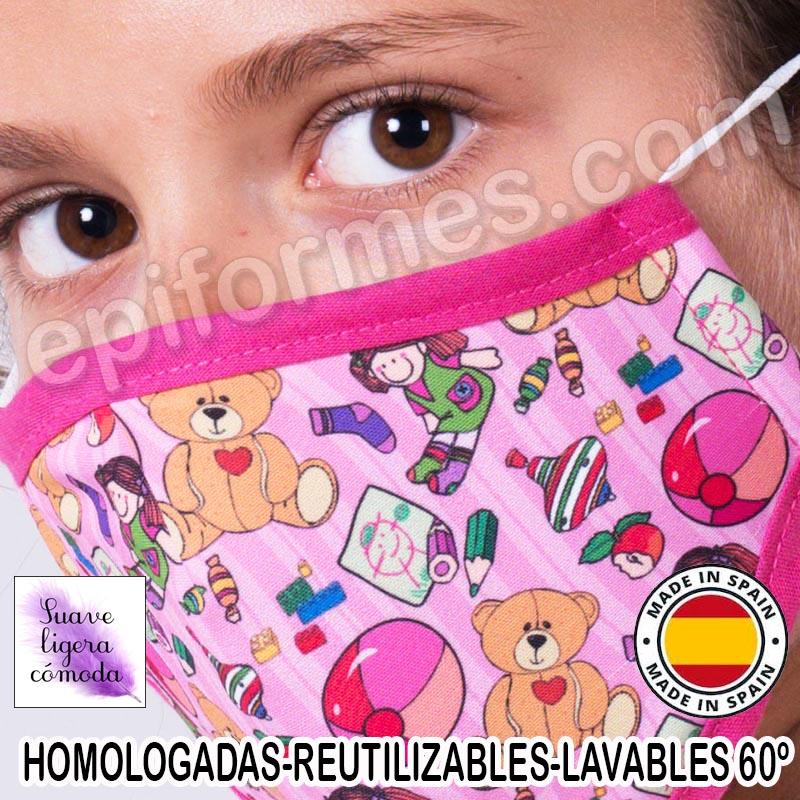 Mascarilla infantil HOMOLOGADA REUTILIZABLE juguet...