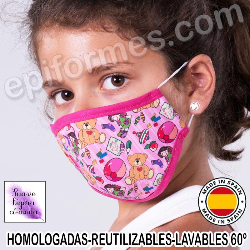Mascarilla infantil HOMOLOGADA REUTILIZABLE juguetes