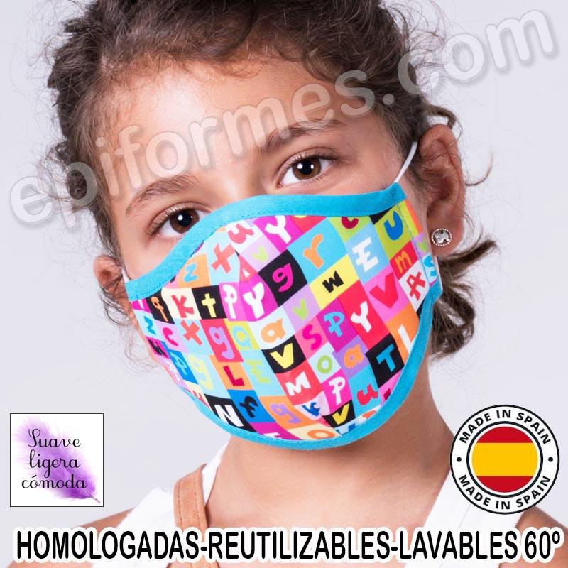Mascarilla infantil HOMOLOGADA REUTILIZABLE letras