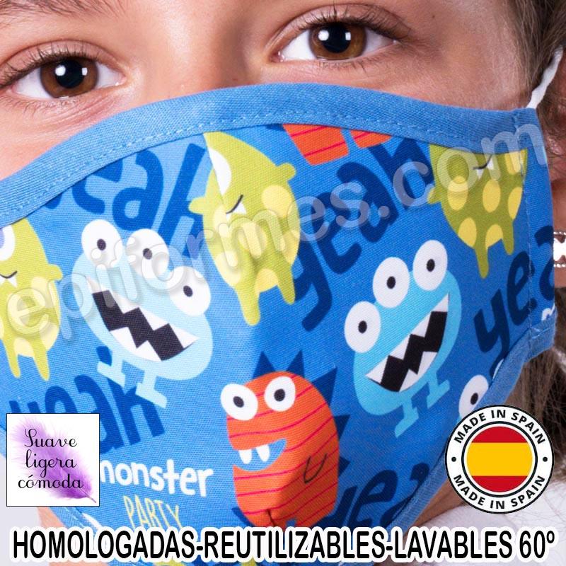 Mascarilla infantil HOMOLOGADA REUTILIZABLE monstr...