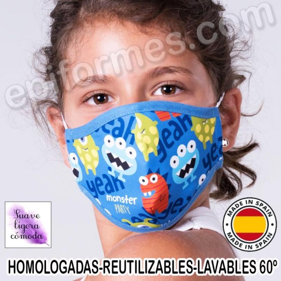 Mascarilla infantil HOMOLOGADA REUTILIZABLE monstruos