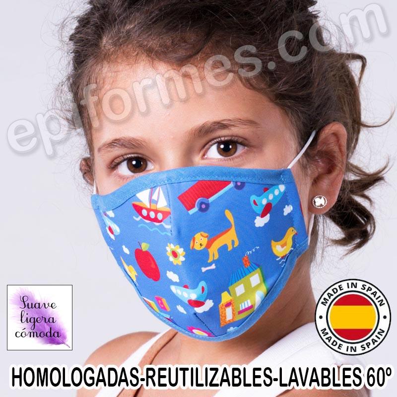 Mascarilla infantil HOMOLOGADA REUTILIZABLE objeto...