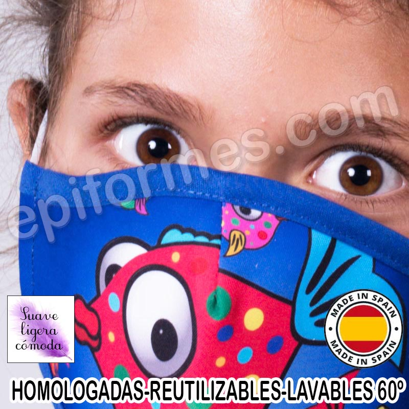 Mascarilla infantil HOMOLOGADA REUTILIZABLE peces