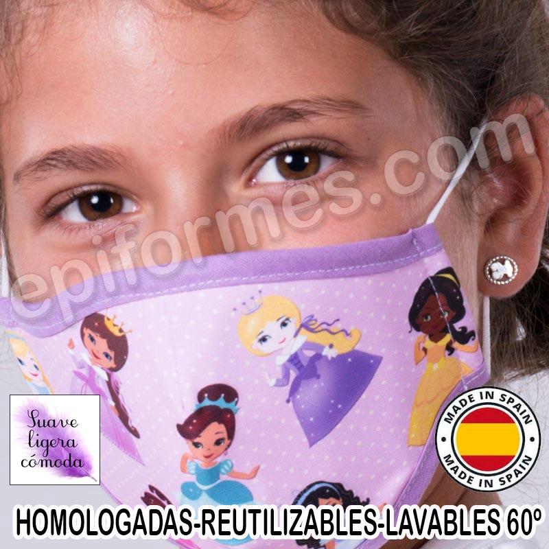 Mascarilla infantil HOMOLOGADA REUTILIZABLE prince...