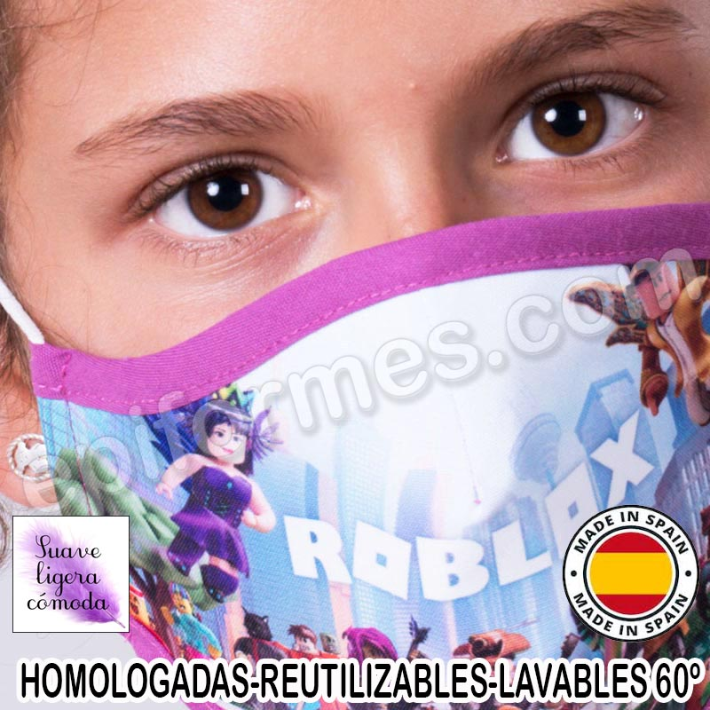 Mascarilla infantil HOMOLOGADA REUTILIZABLE roblox