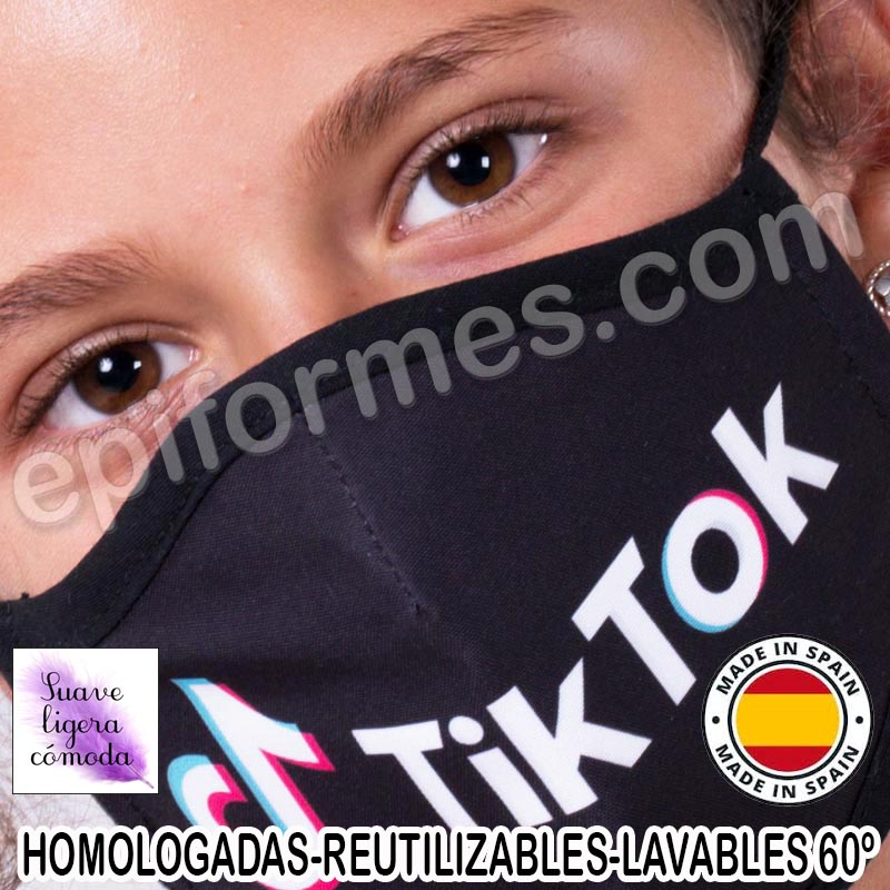 Mascarilla infantil HOMOLOGADA REUTILIZABLE Tik Tok