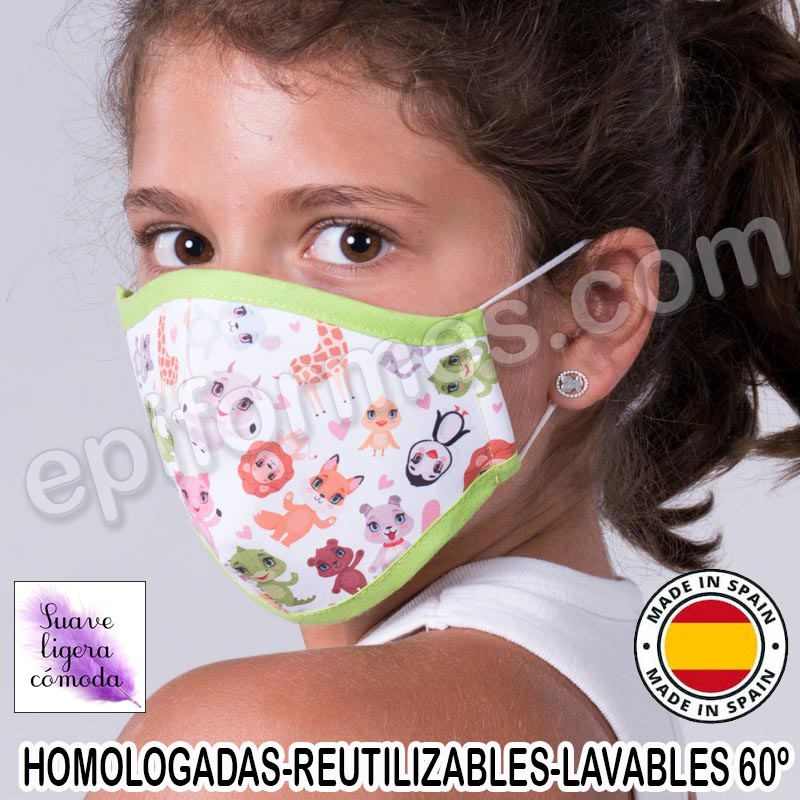 Mascarilla infantil HOMOLOGADA REUTILIZABLE zoo