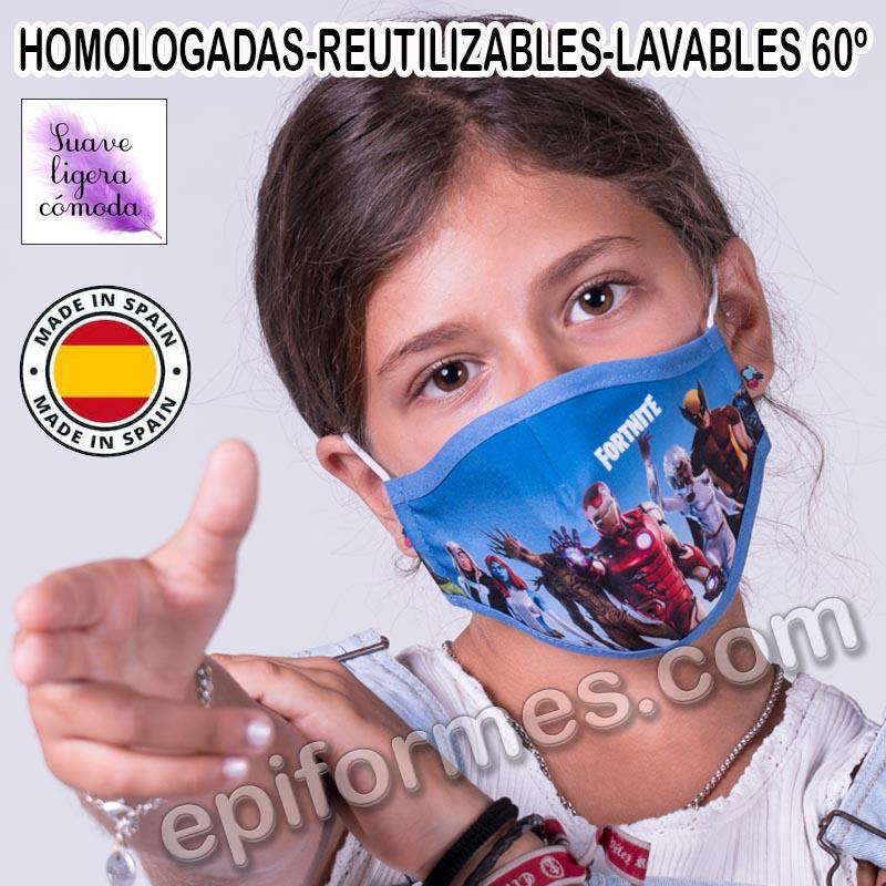 Mascarilla infantil HOMOLOGADA REUTILIZABLE fortni...
