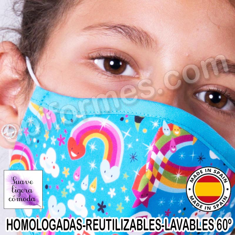 Mascarilla infantil HOMOLOGADA REUTILIZABLE arcoir...