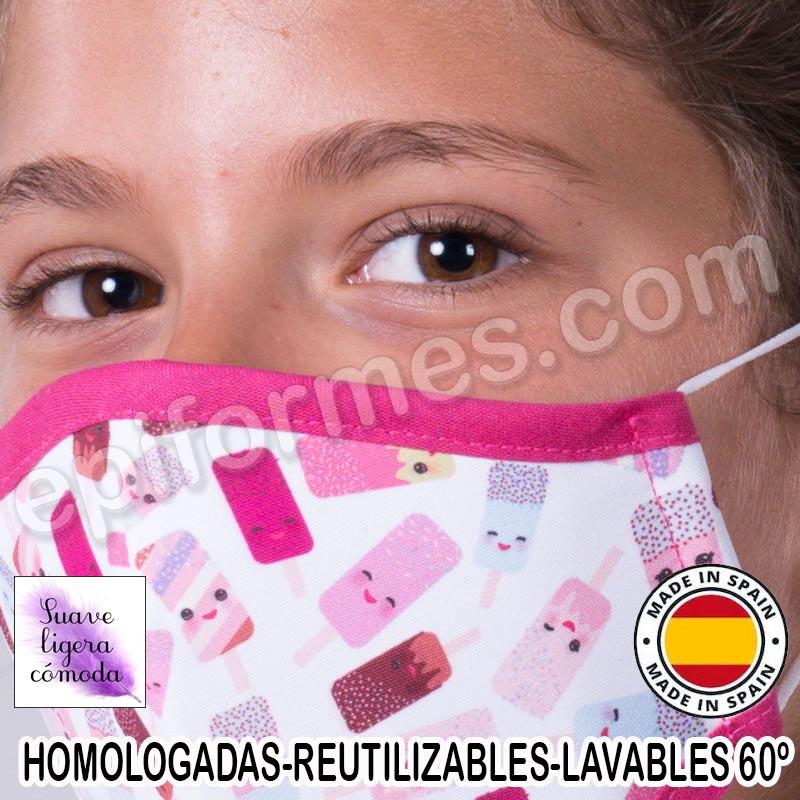 Mascarilla infantil HOMOLOGADA REUTILIZABLE helado...