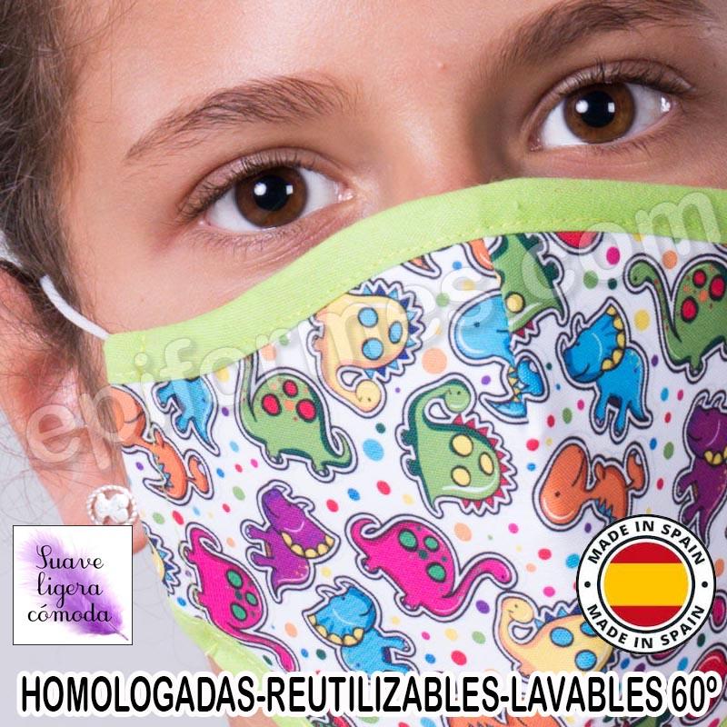 Mascarilla infantil HOMOLOGADA REUTILIZABLE dinosa...