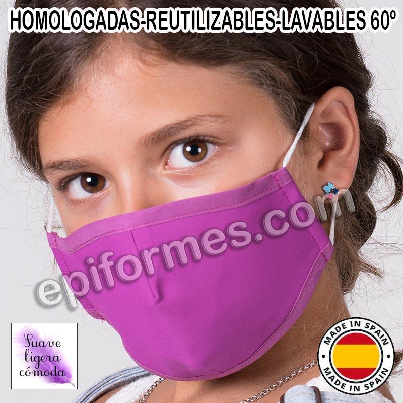 Mascarilla infantil HOMOLOGADA REUTILIZABLE 8 colo...
