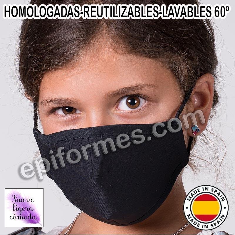 Mascarilla infantil HOMOLOGADA REUTILIZABLE 8 colores
