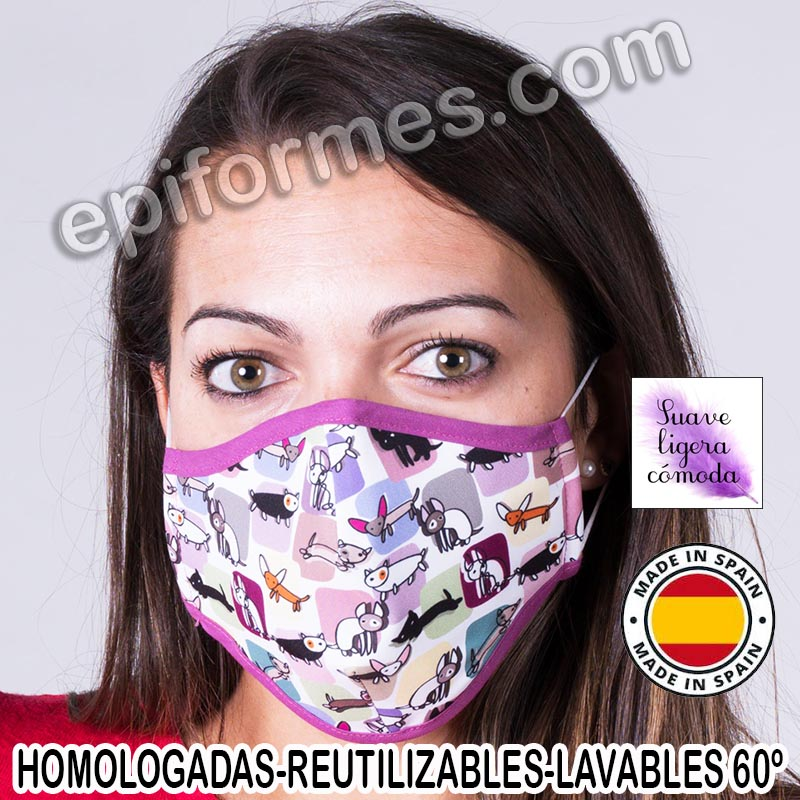 Mascarilla homologada lavable estampada animales