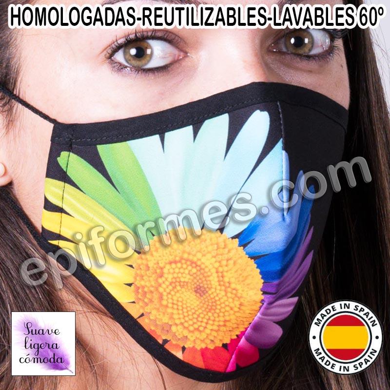 Mascarilla HOMOLOGADA  flor colores