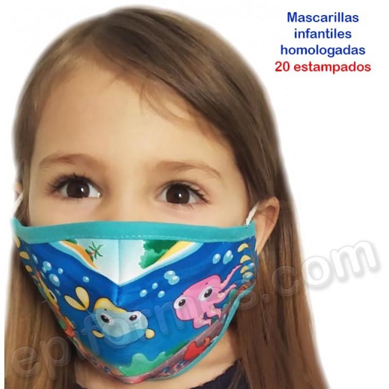 Mascarilla infantil HOMOLOGADA 20 estampados