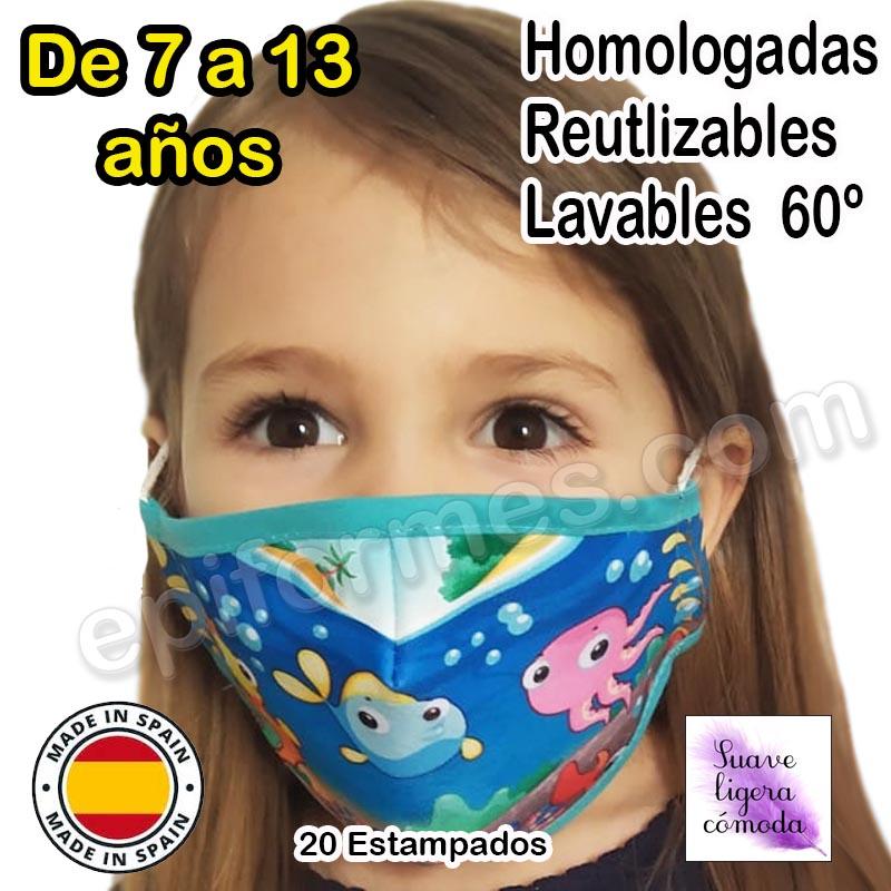 Mascarilla infantil HOMOLOGADA 7 a 13 años