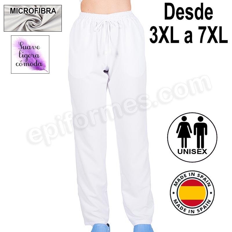 Pantalón  MICROFIBRA blanco talla especial
