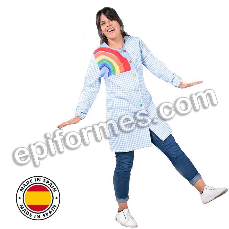 Bata maestra  antibacteriana arcoiris botones