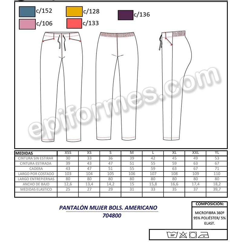 Pantalón sanidad  elástica ,bolsillo americano
