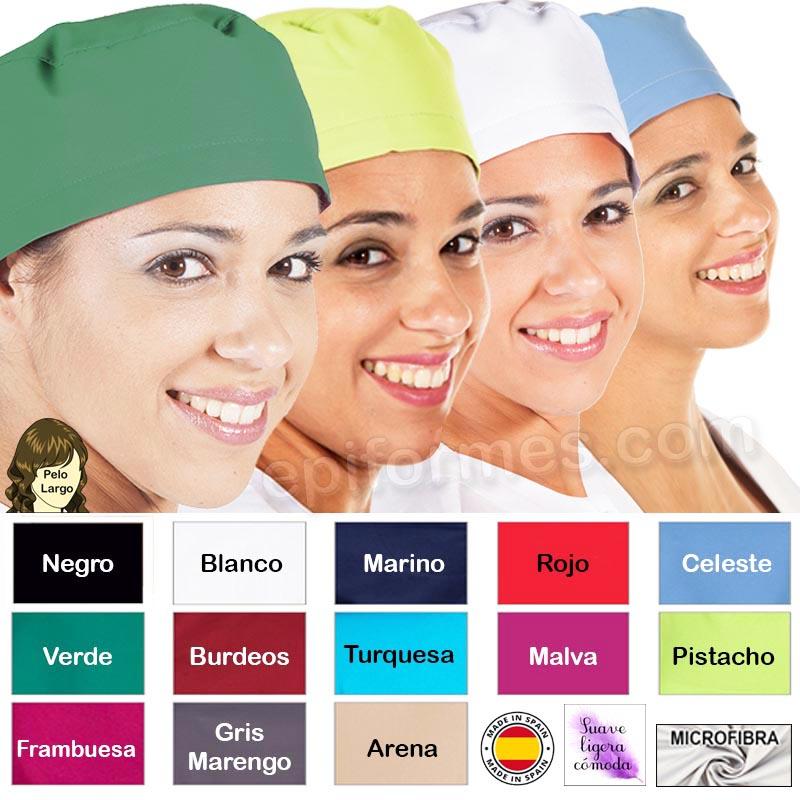 Gorro cirujano pelo largo MICROFIBRA 13 colores