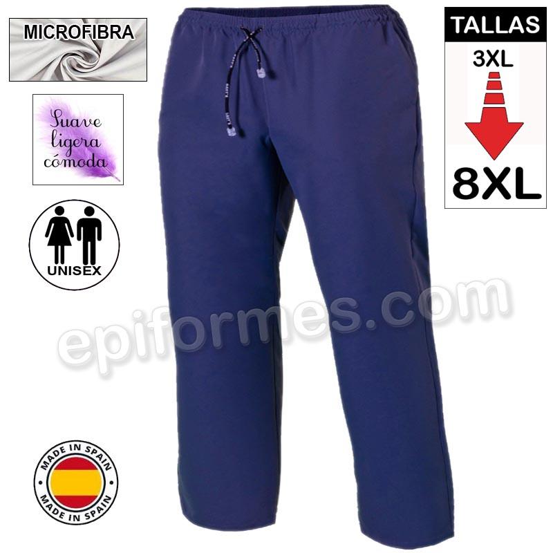 Pantalón  MICROFIBRA Azul marino talla especial