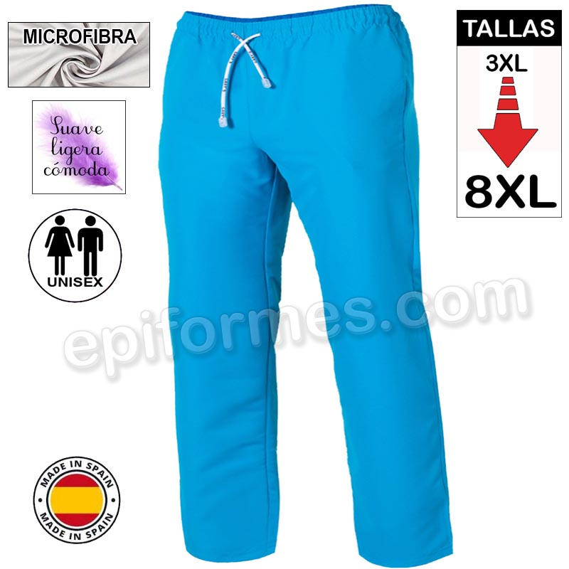 Pantalón  MICROFIBRA turquesa talla especial