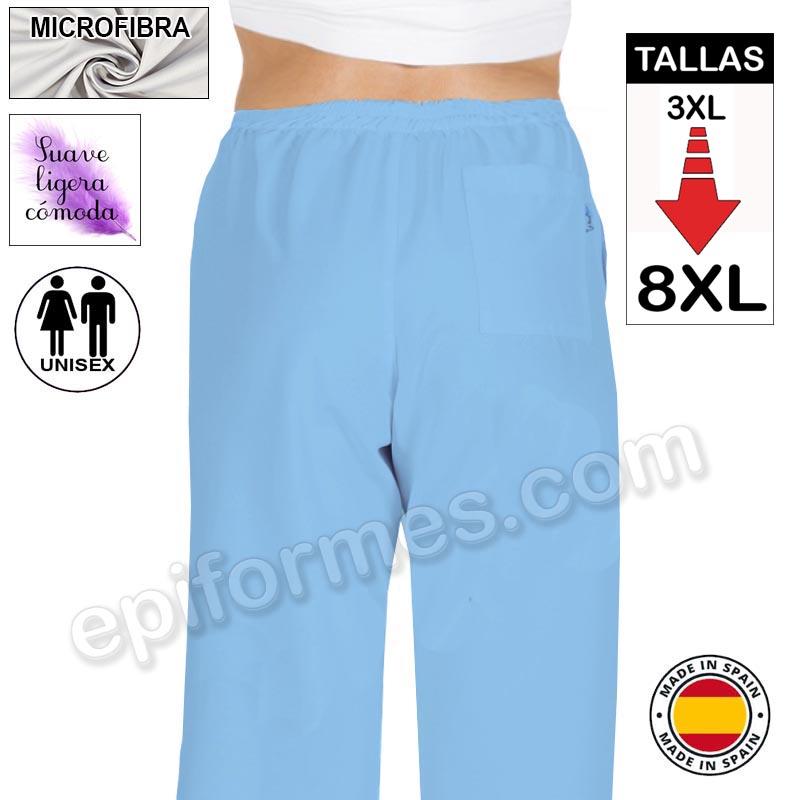 Pantalón  MICROFIBRA Celeste talla especial