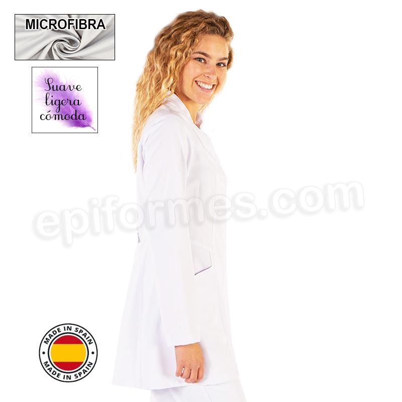 Bata farmacia, corte moderno, microfibra