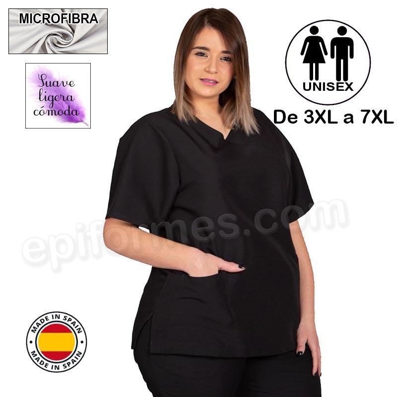 Casaca  MICROFIBRA negra talla especial