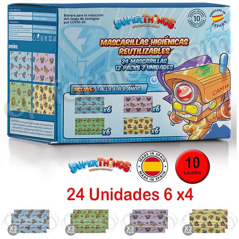24 Mascarillas higiénicas infantiles lavables cer...