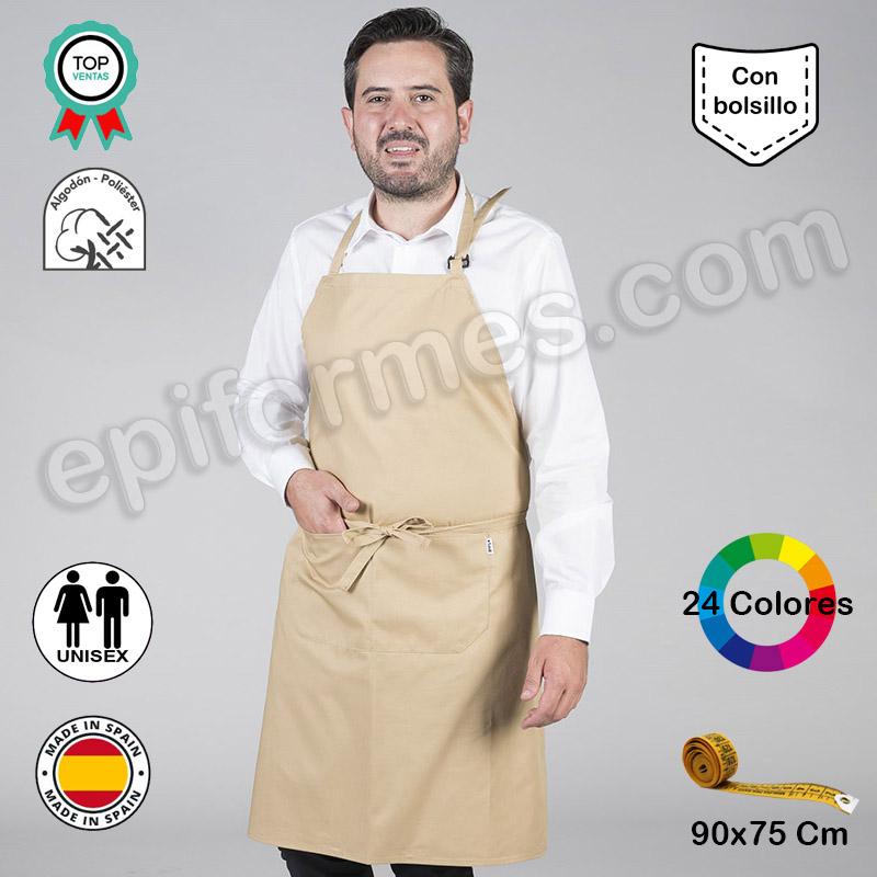 Delantal peto con bolsillos 24 colores