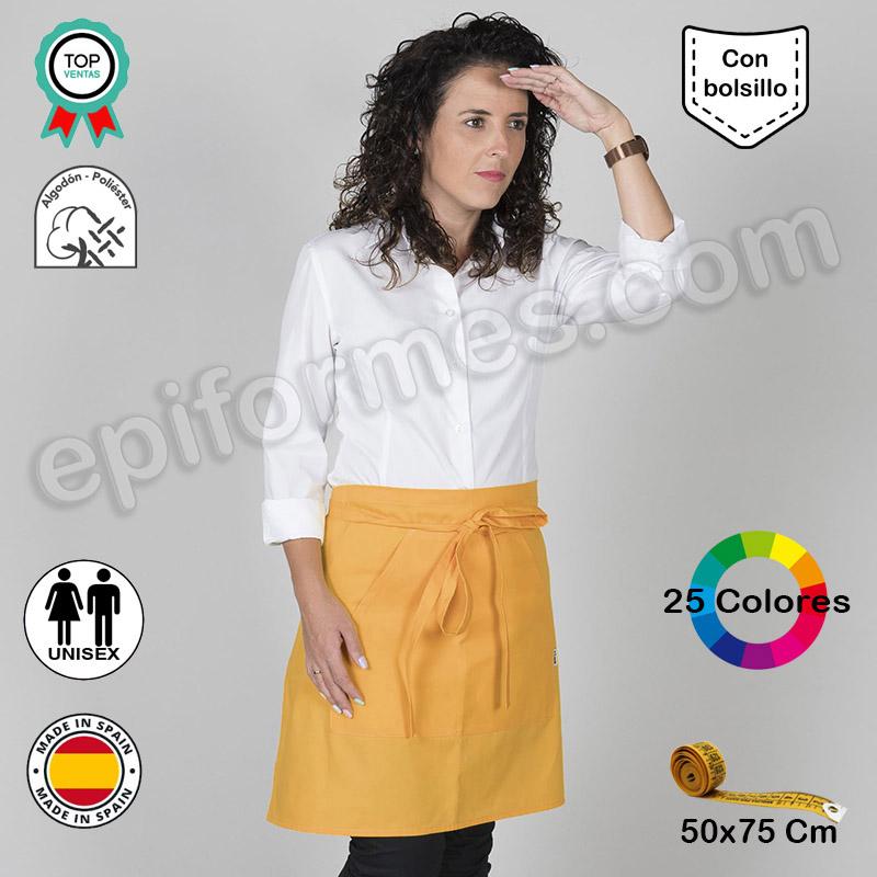 Delantal medio con bolsillo 24 colores