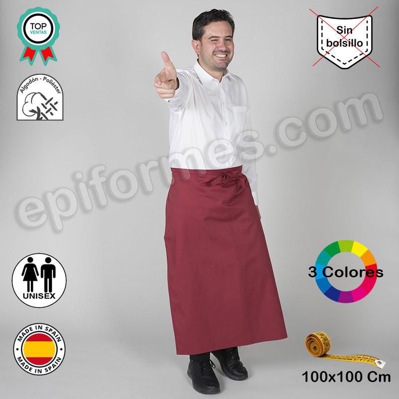 Delantal Frances sin bolsillos +largo, 3 colores