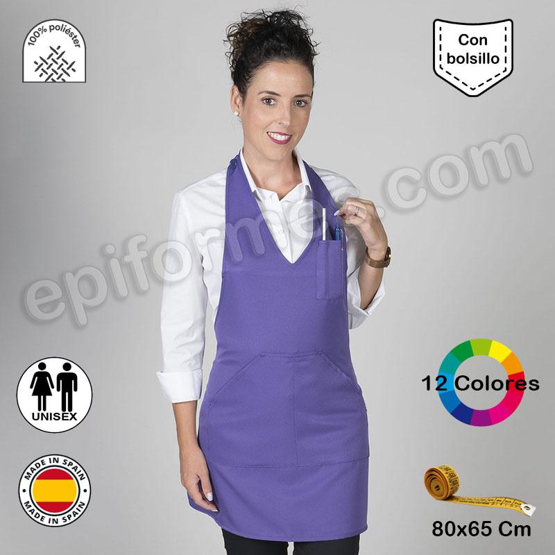 Delantal hostelería Bistro, 12 colores Poliéster