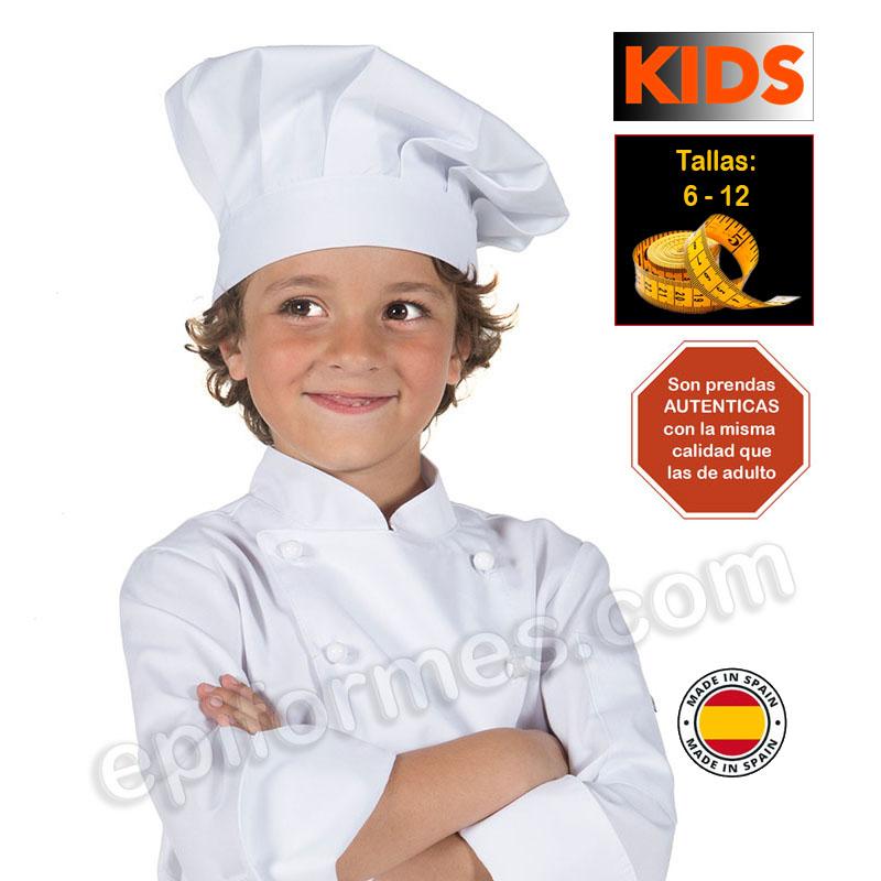 Gorro de cocina infantil, blanco