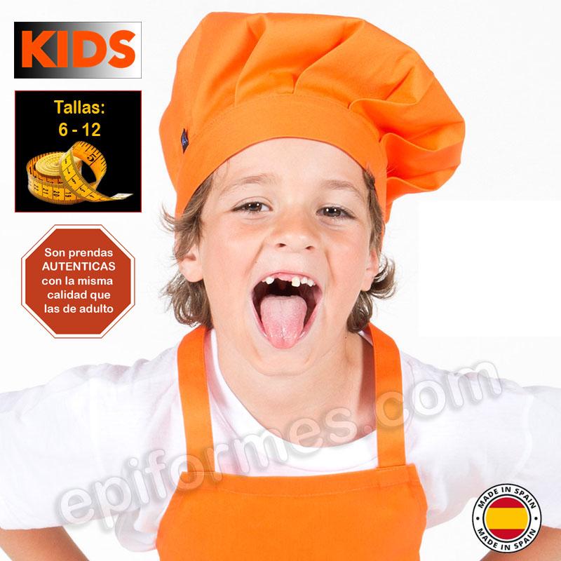 Gorro de cocina infantil, naranja