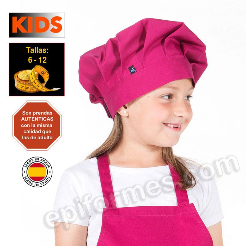 Gorro de cocina infantil, frambuesa